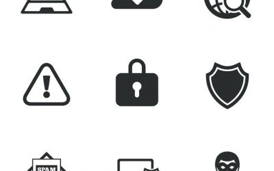 46331176 - internet privacy icons. cyber crime signs. virus, spam e-mail and anonymous user symbols. flat icons on white. vector