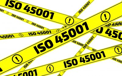 "Yellow warning tapes with inscription ""ISO 45001"" (ISO 45001 is an International Standard that specifies requirements for an occupational health and safety management system). Isolated. 3D Illustration"