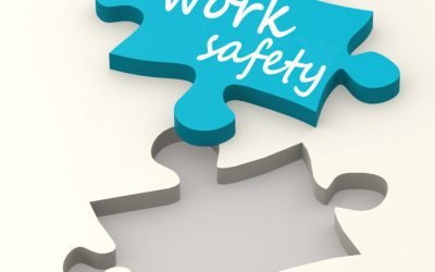 42574556 - work safety on blue puzzle image with hi-res rendered artwork that could be used for any graphic design.