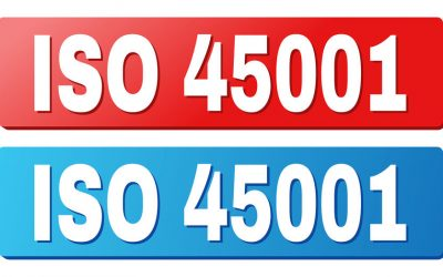 ISO 45001 text on rounded rectangle buttons. Designed with white title with shadow and blue and red button colors.